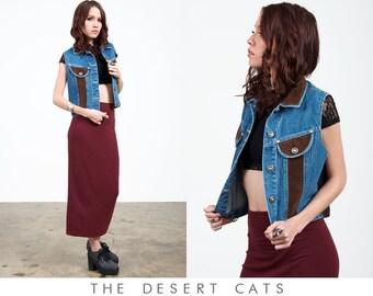 vintage 90s vest vintage denim and suede vest vintage 90s grunge denim vest