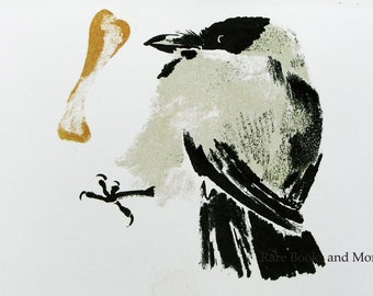 Crow - Artist E. Charushin - Vintage Soviet Postcard, 1988. Bird Card Drawing Animals Art Print