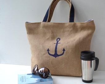 Natur Marine Strandtasche, Schultertasche, Picknick Tasche, Damen Tasche, Herren Tasche, große Tasche, Jute, Reisetasche, Sporttasche, bag