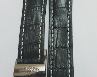 24mm breitling black genuine leather strap with stainless steel deployment clasp fits to all breitling watches.