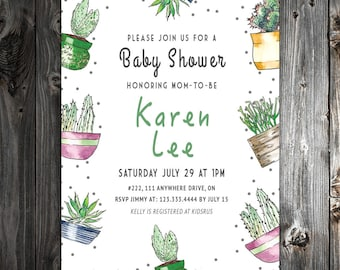 Cactus Theme Baby Shower Invitation - 5x7 - DigitalArt