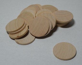 "1-1/2"" Wood Discs - Wood Coins - Set of 25 Unfinished Wood Rounds - 1/8"" Thick Craft Circles - 1-1/2"" Game Pieces"