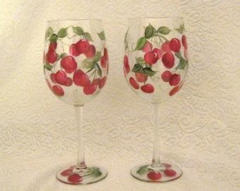 Free shipping Cherries hand painted on set of two wine glasses