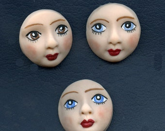 """A Lot of 3  Fleshtone detailed  Round 1 1/4"""" Polymer Face Cabs Un Drilled RDTC 3"""