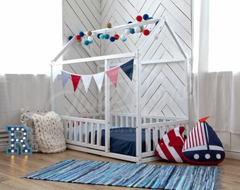 House bed, Toddler bed Play house Tent bed Bunk bed Wooden playhouse Montessori bed Toddler floor bed Wood nursery Teepee bed Kids bedroom