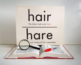 Vintage Giant Hair Hare All Awl Word Flashcard | 11x14 Homonym Poster Flash Card