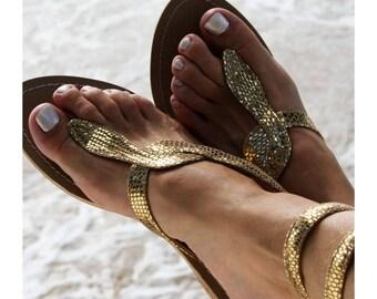 Aspiga Cobra Gold Flat Sandal