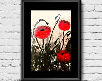 Poppy Wall Art, Poppy Wall Decor, Poppy Print, Poppies Art, Poppy Flower Art, Red Flower Wall Art, Poppy Flower , Red Flower Art Print