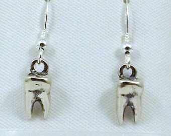Sterling Silver Tooth Charms on Sterling Silver Ear Wire Dangle Earrings - 0143
