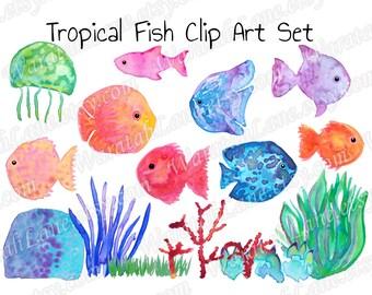 Watercolor Clipart Tropical Fish Clip Art Marine clipart Coral PNG digital Under the sea Hawaiian Party, Island Theme, Beach Wedding