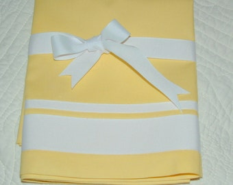 RIBBON trim Valance Sunny Yellow, Navy, Aqua, Brown or Black  COTTON 40 x 16 STANDARD Opening Version