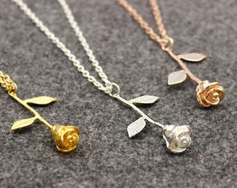 Fairytale Rose Rosegold Necklace Gift
