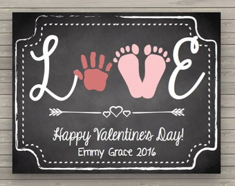 50% OFF SALE Father's  Day {EDITABLE} Chalkboard Card - Printable - Handprint - Footprint - Baby - First Valentine's Day