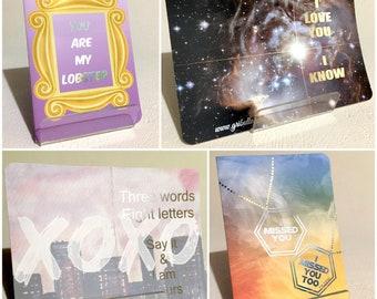 Love on Script - Set of 4 cards with enveloppe, Folded card, Foiled details, Shimmery enveloppe