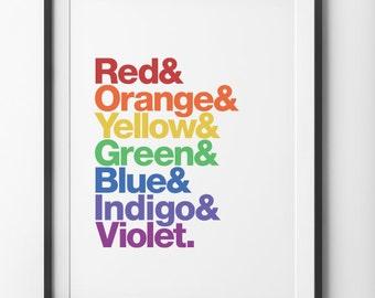 Rainbow Print, Typographic Poster, Color Spectrum Type Rainbow Helvetica Home Decor, Rainbow Type Helvetica Wall Decor, Helvetica Print