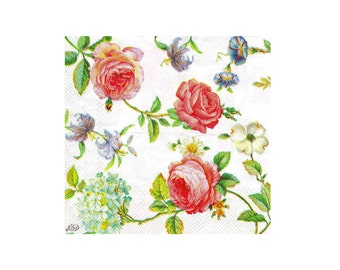 Paper napkin for decoupage, mixed media, collage, scrapbooking x 1.  Floral  No 1093