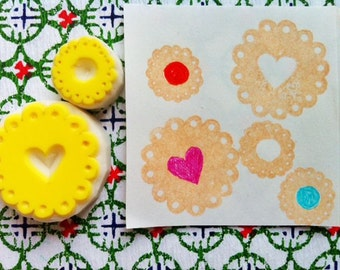 cookie rubber stamp set | biscuit stamps | sweets & baking | diy christmas birthday card making | hand carved by talktothesun | set of 2