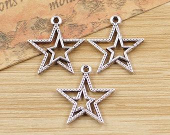 12 Star Charms Antique Silver Tone Charm Double Star Charm Bracelet Bangle Bracelet Pendants #32