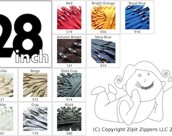 YKK Zippers Your choice of Colors 28 Inch Mix and Match Zips Qty 5