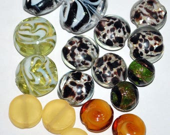 Glass Bead Destash 22 pcs Rondelle, Round, Oval, Lentil, Coin - Orphan Beads, Bead Pairs