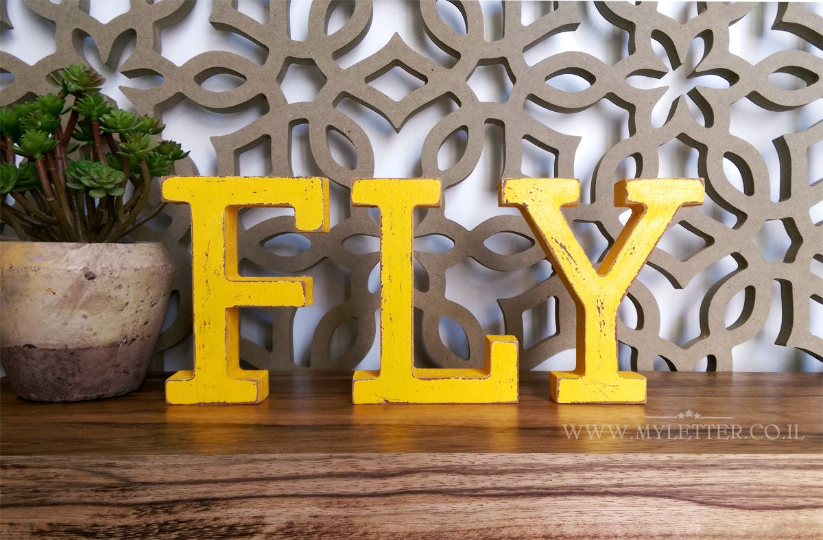 FLY free standing letters FLY Wood Letters Wooden FLY