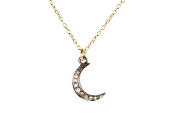 Moon necklace - pave diamond necklace - diamond charm - diamond pendant - crescent moon - a tiny diamond moon charm on 14k gold filled chain