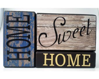 Home Sweet Home in Rustic Blue and White Wood Block Set