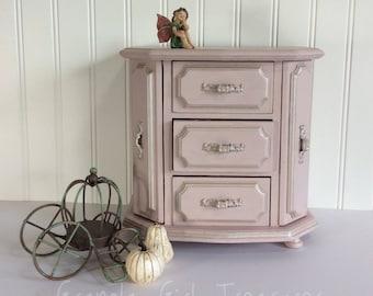 Pink Wood Jewelry Box, Hand Painted Jewelry Box, Pink Armoire, Jewelry Storage