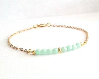 Mint Bracelet, Thin Bracelet, Beaded Bar Gold Simple Bracelet, Pastel Bracelet, Delicate Gold Bracelet, Dainty Gold Bracelet