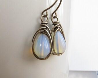 Opalite Earrings, Sterling Silver Earrings, Briolette Earrings, Opal Glass Earrings, Opalite Jewellery, White Earrings, UK Sellers Only