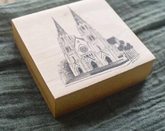 St. John the Baptist Cathedral Line Drawing - Savannah Georgia - Pen and Ink Fine Art Print on Wood - Handmade Wood Art - Wood Ornament