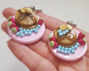 Stack of Pancakes with Berries - Polymer Clay Charm
