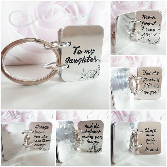 daughter keyring,  Book key ring, daughter gift,  hand stamped key chain, to our daughter present, for her, custom keyring