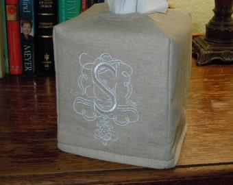 Boîte de mouchoirs - fait sur commande - Monogramme Royal - S