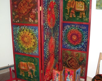 screen room divider  Folding  Room Divider - India - painted cotton screen, wooden frames. Hand painted cotton, hot batik.