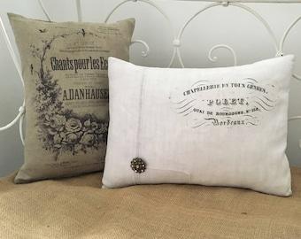 French script cushion, vintage linen