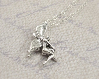 Tiny Fairy Necklace, Sterling Silver Fairy Charm on a Silver Cable Chain