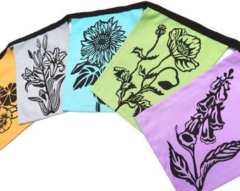 Hand Printed Flower Flags muted tones - Flower Garden Decoration - Garden Gate Banner - Garden Flags - Rustic Garden Decoration - Sunflower