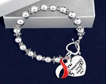 12 Where There Is Love Red & White Ribbon Bracelets (12 Bracelets) (B-01-22)