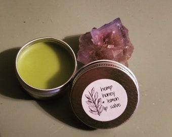 Honey Hemp Lemon Lip Balm - Lip Salve - Healing, Moisturizing Chapped Lip Gloss