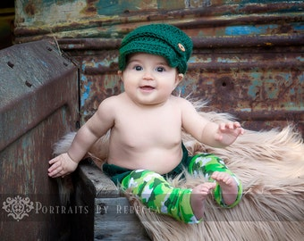 Green Camouflage Baby Leg Warmers