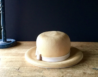 Vintage Straw Hat, Ladies Straw Hat, Spring Hat, Summer Hat, Boaters Hat, Lord and Taylor, Vintage Fedora, Womens Straw Hat