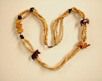 Collier long Tribal Boho Vintage bijoux éléphant collier Bijoux animaux bijoux fait à la main collier de bois colliers uniques cadeau pour elle