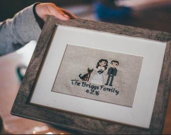 Custom Cross Stitch Family Portrait - Framed