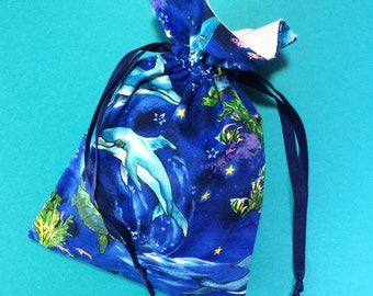 Blue Dolphin Drawstring Pouch / Animal Drawstring Bag / Handmade Fabric Pouch