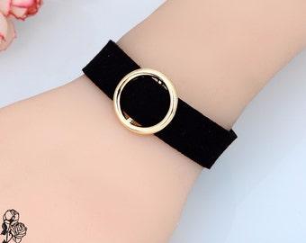 Bracelet velvet fabric Choker with ring gold