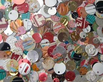 Recycled Tin Discs Charms Tokens Tags - VINTAGE Metal - Outsider Art Jewelry Supply