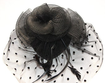 Black Fascinator with pear shape base attached with two clips
