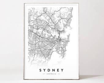 Sydney city map, Sydney map, map of Sydney, Sydney poster, Sydney print, Sydney city print, Sydney, Sydney map poster, city maps, map prints