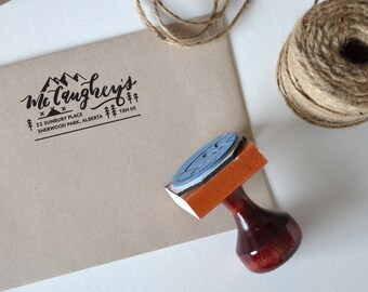 Custom Return Address Stamp, Hand lettered, Office supplies, Mountain Design, approx 2.75 x 2.5